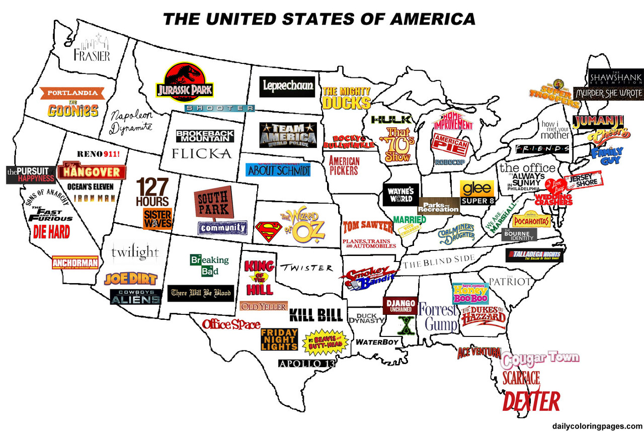 The United States Of America  Movie Map Now Thats Merican - Show map of united states