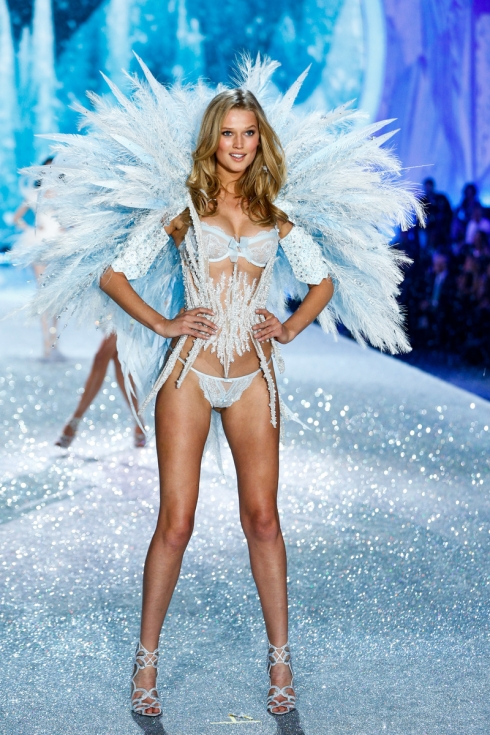 Toni Garrn walks the runway at the 2013 Victoria's Secret Fashion Show in New York City on November 13th, 2013